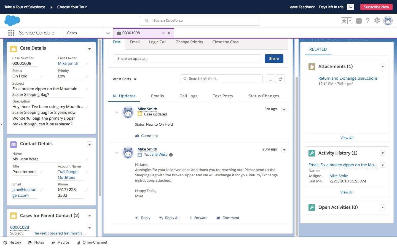 Salesforce のコンソールに表示されているオープンケース