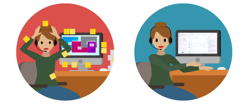Two side-by-side images displaying a customer service agent before and after Service Cloud
