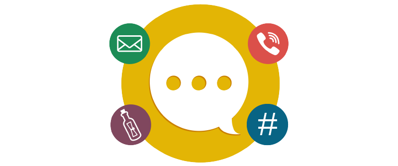 A chat bubble surrounded by different methods of communication