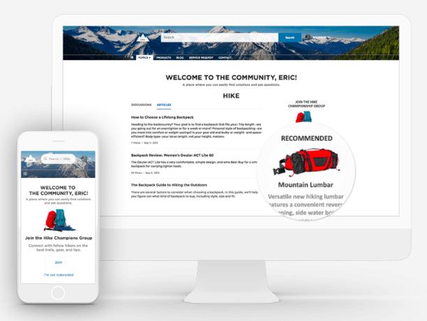 Captura de tela de uma página das comunidades, mostrando a personalização.