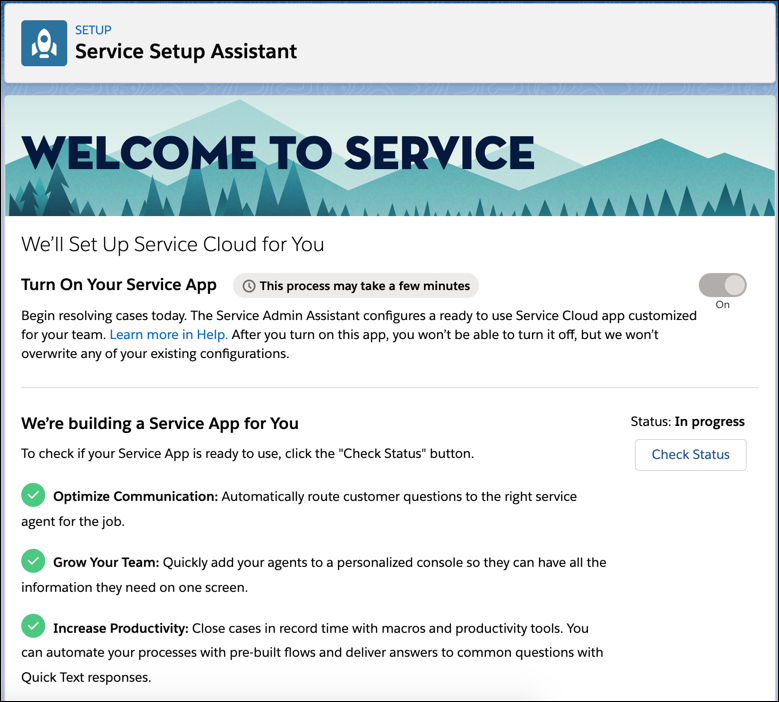 A screenshot of the Service Setup Assistant in Setup.