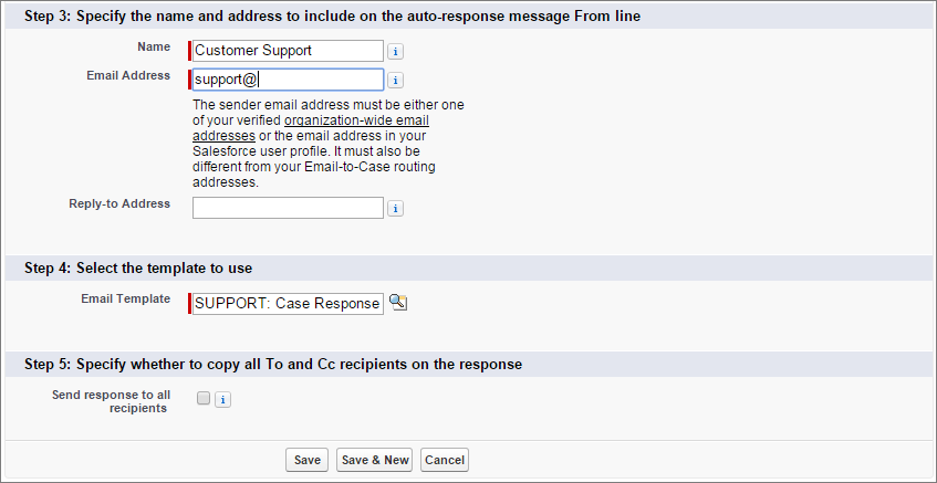A screen shot of case auto-response rule criteria with email template added.