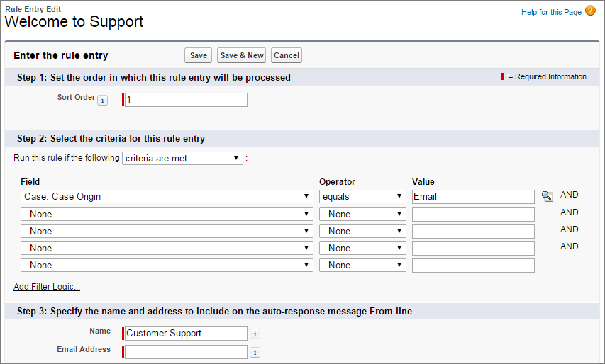 A screen shot of case auto-response criteria.
