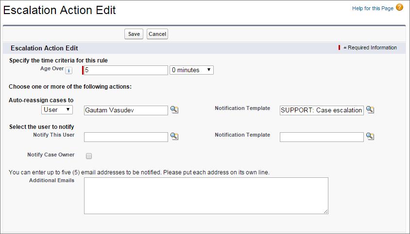 Screenshot einer Aktion nach einer Eskalationsregel für einen Kundenvorgang, sobald dieser über 5 Stunden alt ist.