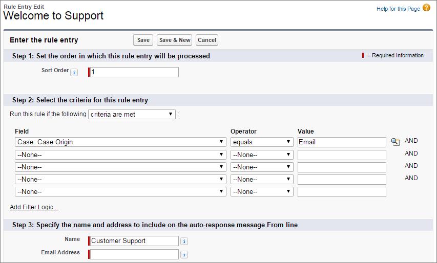 Screenshot von Kriterien für die automatische Beantwortung von Kundenvorgängen.
