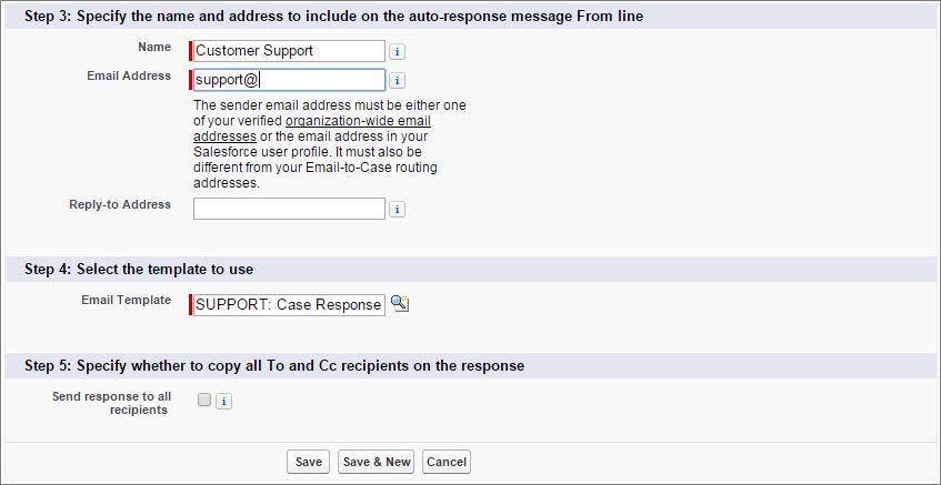 ケース自動レスポンスルール条件にメールテンプレートが追加されているスクリーンショット。