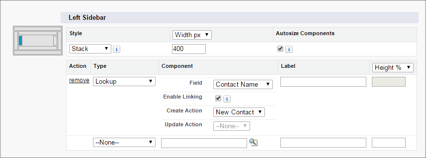 A screen shot of the contact lookup details for a component on case page layouts.