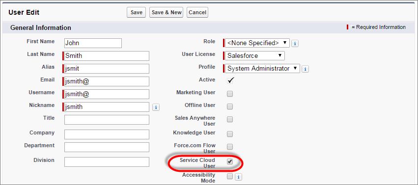 Screenshot der Bearbeitungsseite für Benutzer mit aktivierter Service Cloud-Benutzerlizenz.