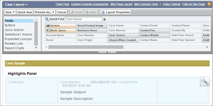 Instantâneo do layout de página de caso com a seção Painel de destaques.
