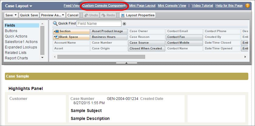 Instantâneo do layout de página do caso com um link para os componentes de console personalizados na parte superior.