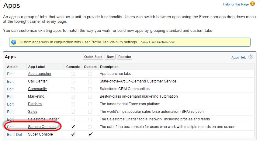 Instantâneo da página de aplicativos em configuração.