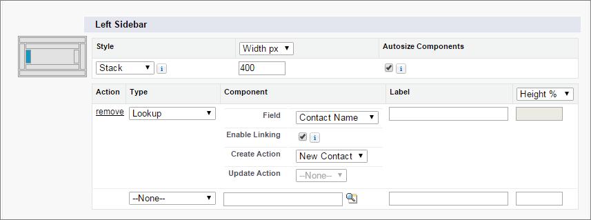 Instantâneo dos detalhes de pesquisa de contato para um componente em layouts de página do caso.
