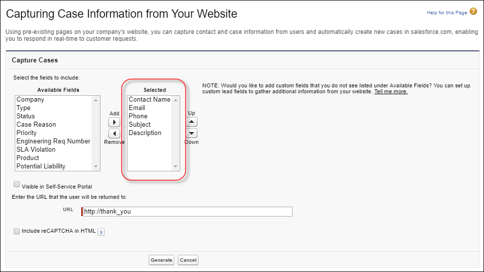 A screen shot of the Web-to-Case HTML generator page.