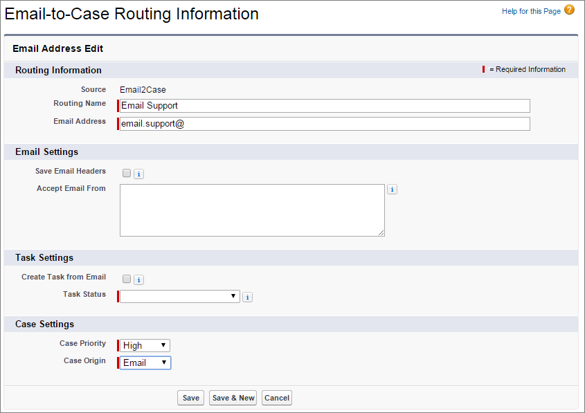 A screen shot of the Email-to-Case routing details page.