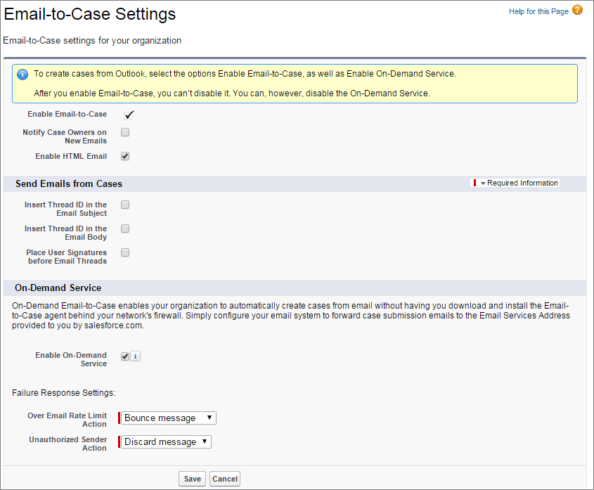 メール-to-ケース設定ページのスクリーンショット。