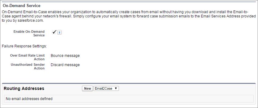 メール-to-ケースのルーティングアドレスリストのスクリーンショット。