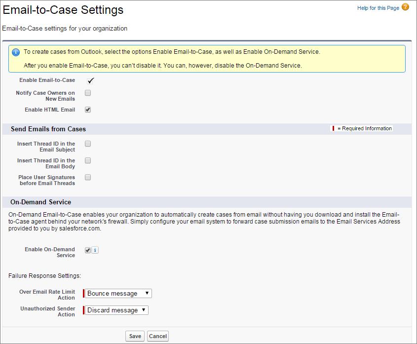 Instantâneo da página de configuração do Email-to-Case.
