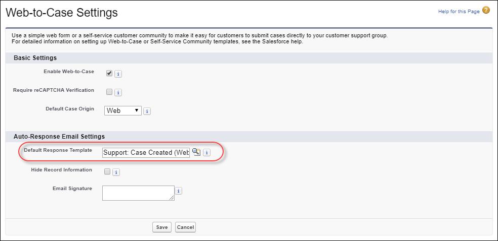 Instantâneo da página de configuração do Web-to-Case.