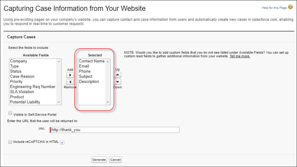 Instantâneo da página do gerador de HTML de Web-to-Case.