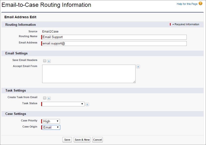 Instantâneo da página de detalhes de roteamento do Email-to-Case.