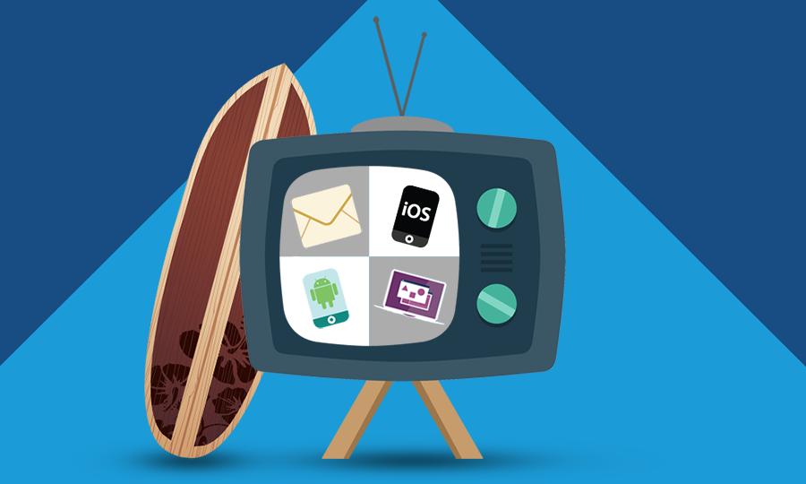 Uma imagem de uma televisão mostrando vários canais e uma prancha de surf.