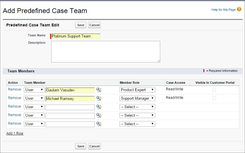 Screenshot der Seite 'Vordefinierte Kundenvorgangsteams'