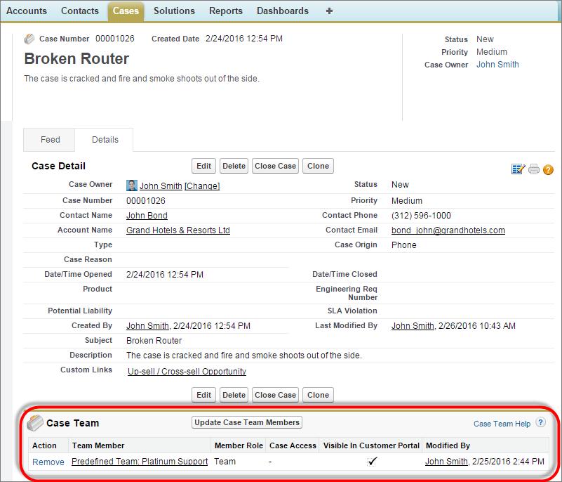 Screenshot einer Konsole mit einem Kundenvorgang und einem Kundenvorgangsteam