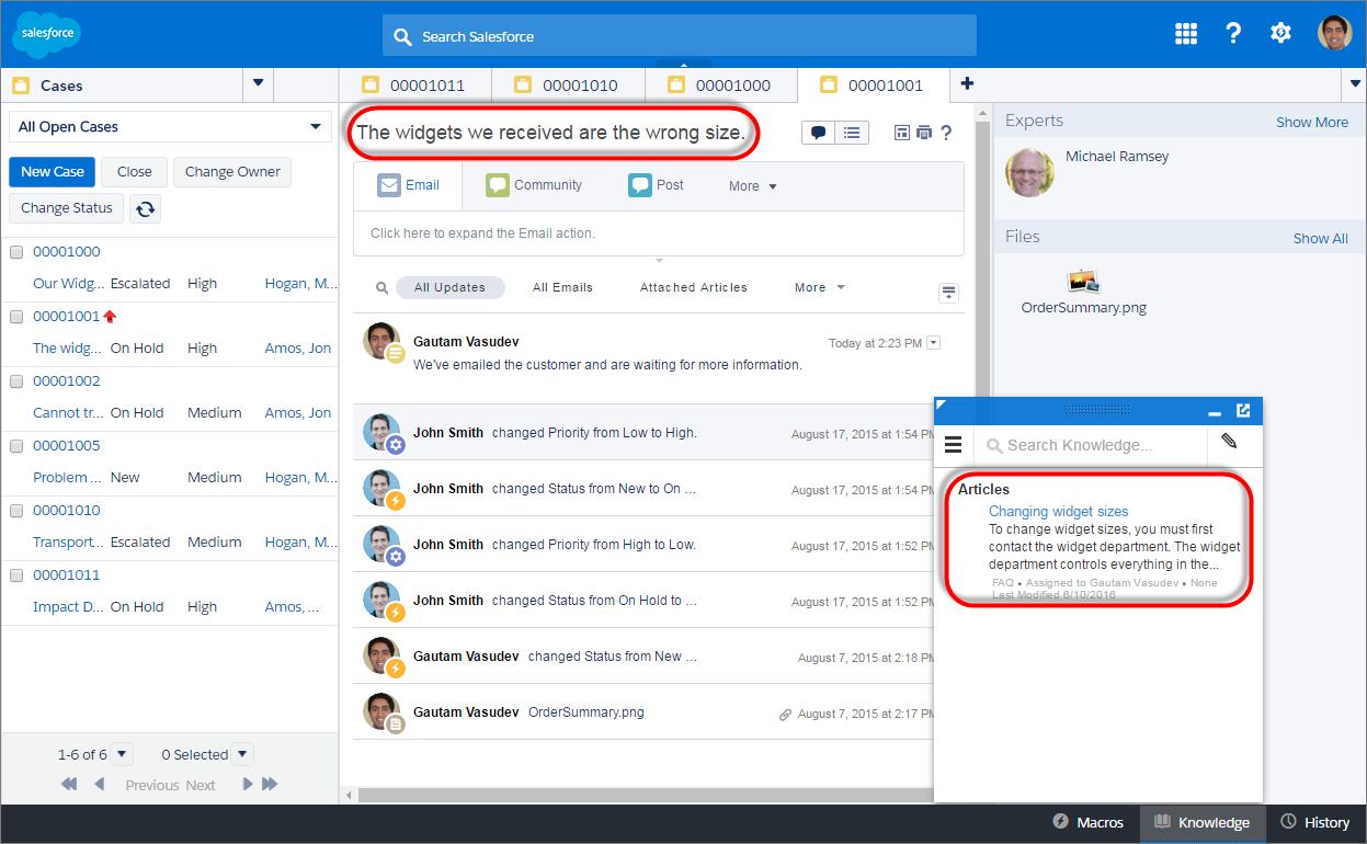 Capture d'écran d'une requête dans une console avec un article suggéré automatiquement.