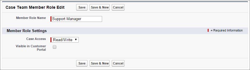 Capture d'écran de la page de détails des rôles des membres d'une équipe de requête.