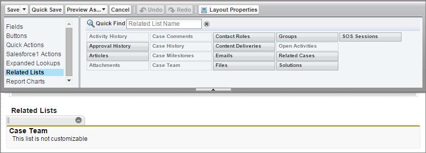 Instantâneo do layout de página de caso com a lista relacionada da equipe do caso.