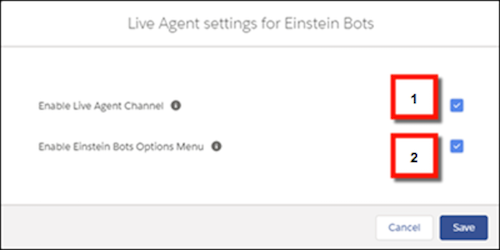 Set Live Agent channel for bots and enable Bot Options menu
