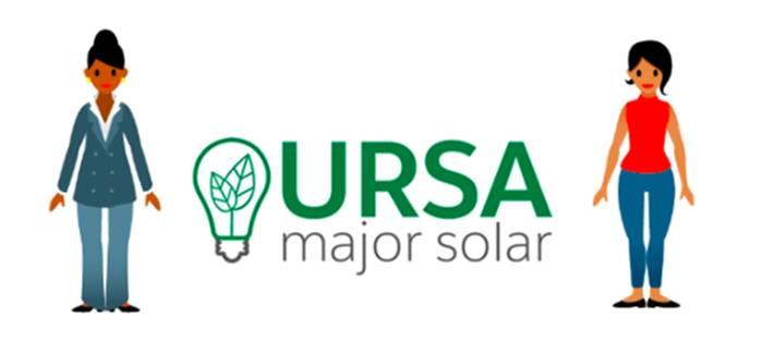 Sita y Maria de pie junto al logotipo de Ursa Major Solar.