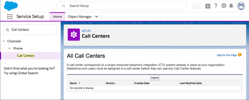A screen shot of the Call Center area of Setup with the Import button appearing.