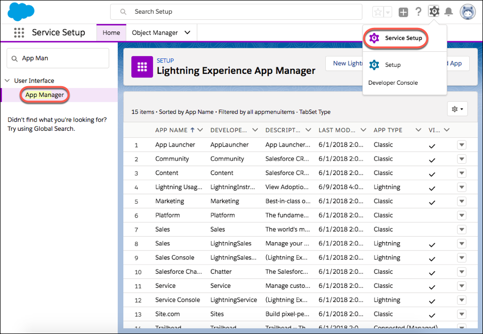 A screenshot of the App Manager in Service Setup with many apps appearing.