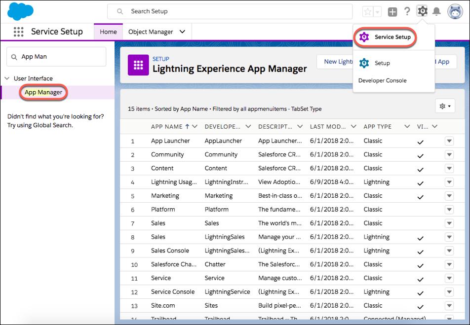 Captura de tela do Gerenciador de aplicativos, em Configuração de serviço, com muitos aplicativos aparecendo.