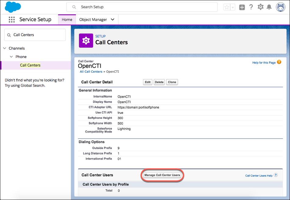 Captura de tela de um centro de atendimento em Configuração com a lista relacionada Usuários do centro de atendimento.