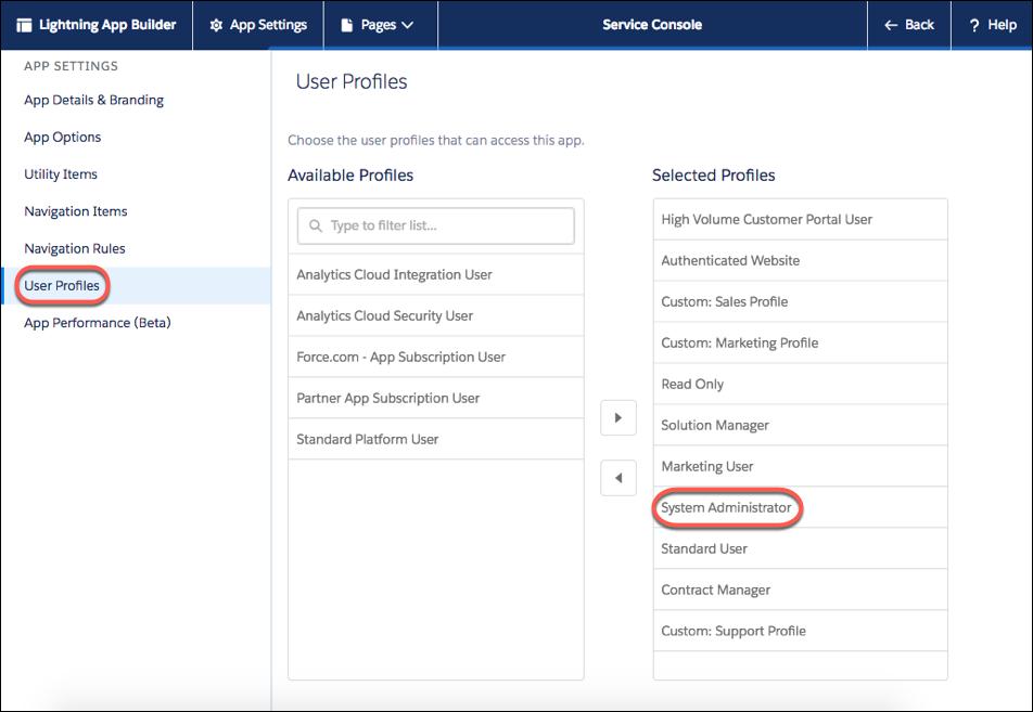 Captura de tela da seção Perfis de usuário do console de serviço com o perfil Administrador do sistema destacado.