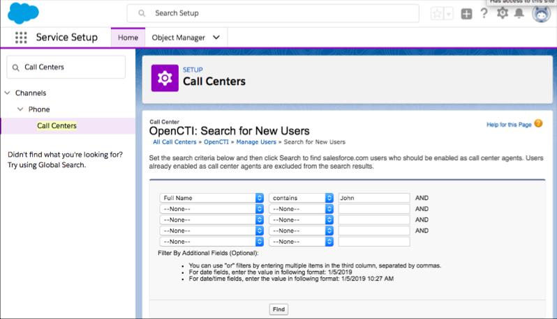 Captura de tela da localização de usuários com critérios na configuração do Centro de atendimento.