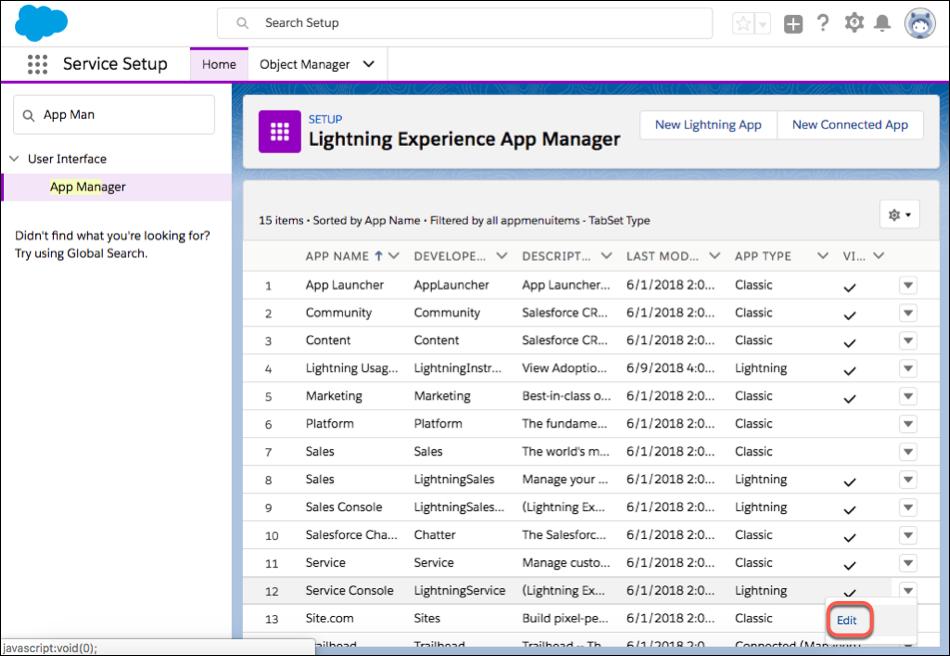 Captura de tela do aplicativo do console de serviço no Gerenciador de aplicativos com a opção Editar destacada no menu suspenso.