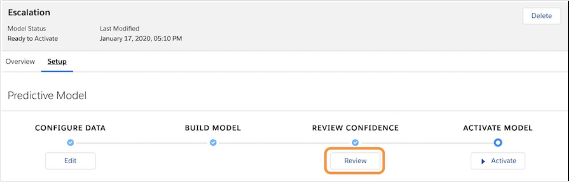 Review button on the Model Details page