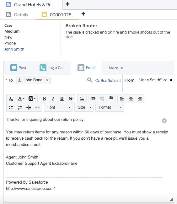 クイックテキストを使用したケースフィードのメール