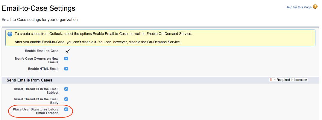Caixa de seleção Posicionar assinatura de usuário antes da sequência de emails