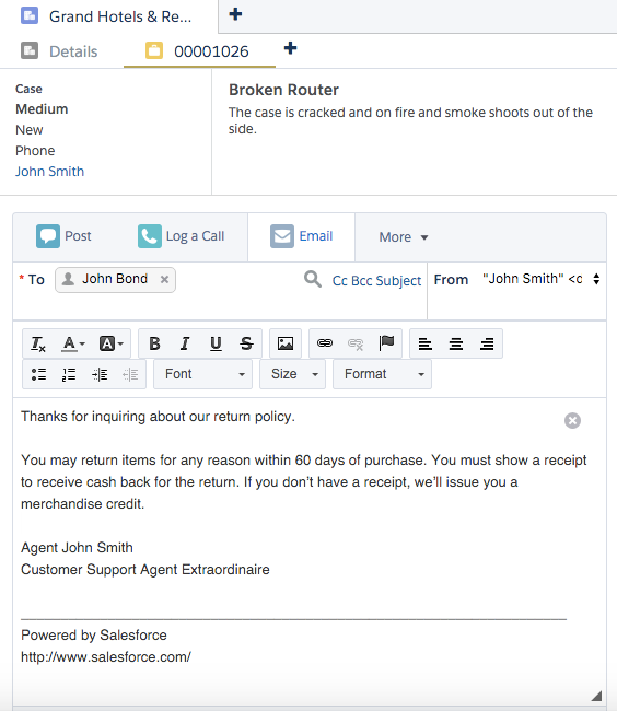Email no feed de casos com texto rápido