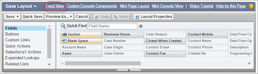 Botão Visualização de feed no layout de caso