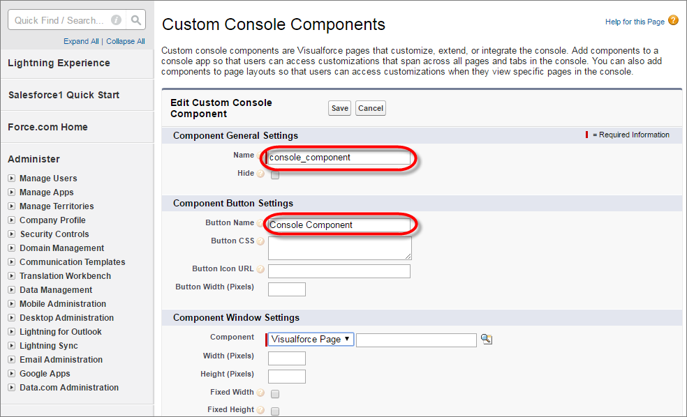 A screenshot of the Custom Console Components page in Setup