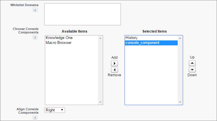 A screenshot of the Choose Console Component field on a console edit page