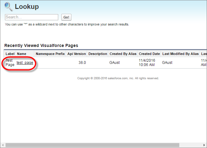 A lookup dialog box for a Visualforce page