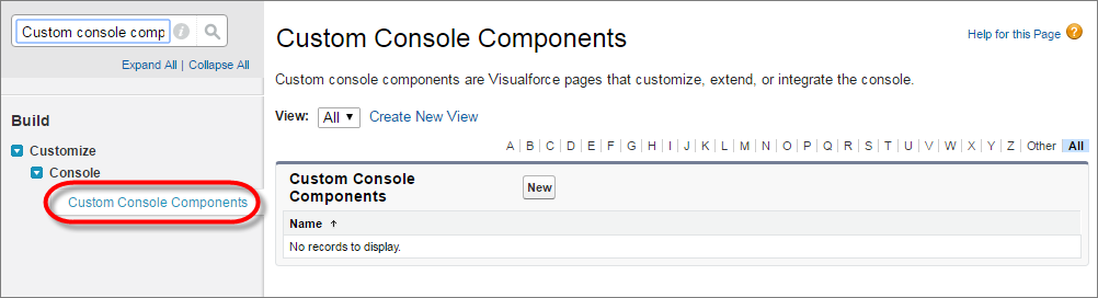 A screenshot of the Custom Console Components link in Setup