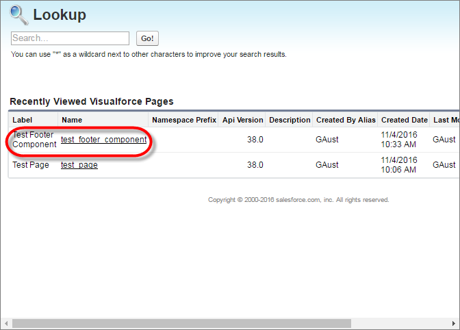 A screenshot of the Lookup dialog box with a Visualforce page