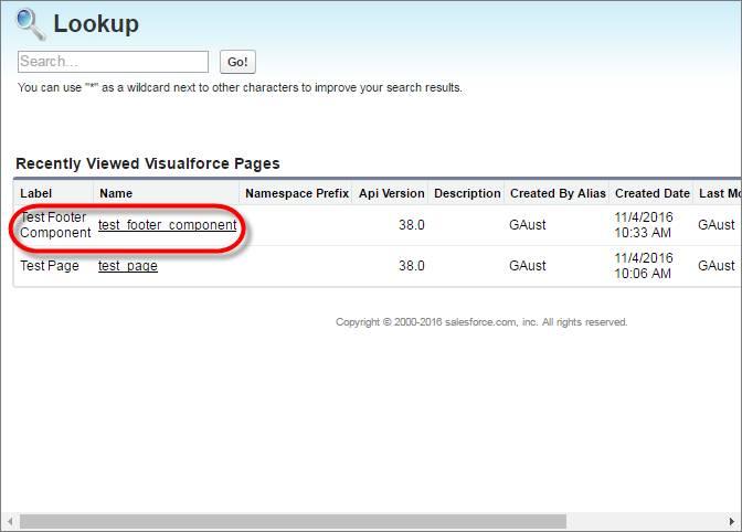 Visualforce ページを示す [ルックアップ] ダイアログボックスのスクリーンショット